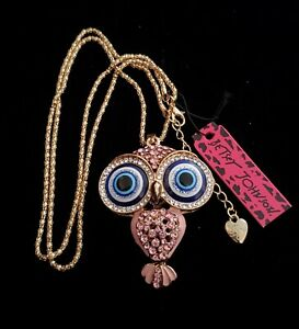 "Betsey Johnson Pink Rhinestone Owl 28"" Necklace w/ Large Blue Eyes   ***NWT***"