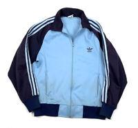 VTG adidas Blue Two-Tone Trefoil Full-Zip Track Jacket 80s 90s Men's M