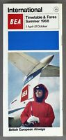 BEA BRITISH EUROPEAN AIRWAYS INTERNATIONAL AIRLINE TIMETABLE SUMMER 1968 NO.45