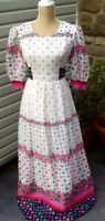 Pretty Vintage 70's Retro Floral Print Maxi Dress Boho Festival Prairie Sz 8-10