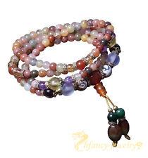 6MM Natural Colorful Crystal Quartz Beads Buddhist Prayer Mala Necklace Bracelet