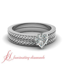 1/2 Carat Heart Shaped Diamond Solitaire 14K Gold Wedding Rings Set SI1-F Color