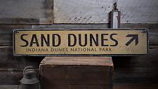 Sand Dunes Arrow, Indiana Dunes - Rustic Distressed Wood Sign