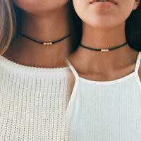 Black Short Choker Collar Necklace Beaded Chain Fashion Women I1C6