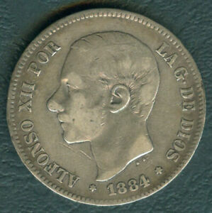 1884 Spain ALFONSO XII 5 pesetas Crown Size Silver Coin #A1