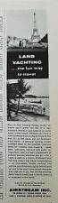 1964 Vintage Airstream Inc Travel Trailer Land Yachting Original Ad