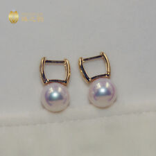Top Quality AAAAA 9-9.5mm real natural Akoya white round pearl earrings 18k Gold