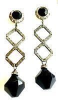 Unbranded Earrings Black with Clear Rhinestones  Y57