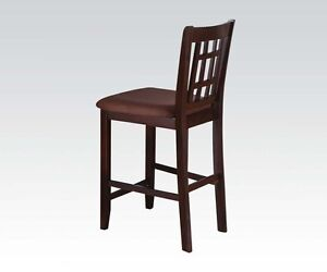 Elegant Style Dining Set Of 2 Walnut Finish Cushioned Counter Height Chair
