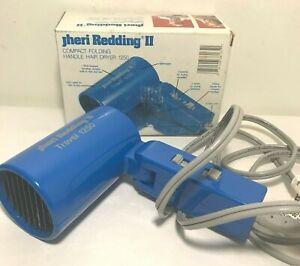 Jheri Redding II Compact Folding Travel 1250 Folding 2-Speed Hair Dryer Blue BOX