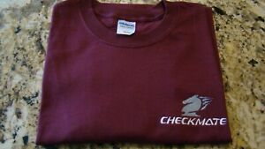 Checkmate Knight Boat Logo Maroon w/White & Gray Size L T-Shirt Embroidered