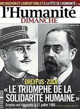 L'HUMANITÉ DIMANCHE n° 519 DREYFUS-ZOLA*Alain SOUCHON-Laurent VOULZY + SUPPLEMEN