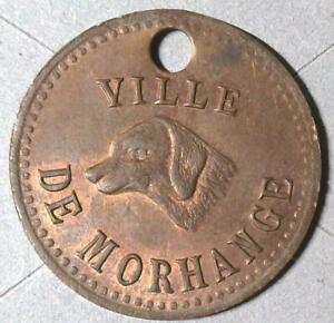 c. 1900 Bronze Dog License or Award • Ville De Morhange (France) • 26mm