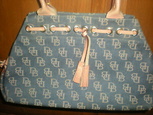 Dooney & Bourke Blue Denim with Leather Trim Purse  Handbag + Key Chain Coin