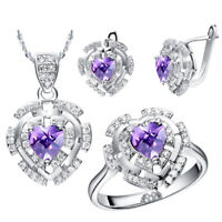 Real Sterling Silver Genuine Purple Cubic Zircone Earring/Necklace/Ring/Set