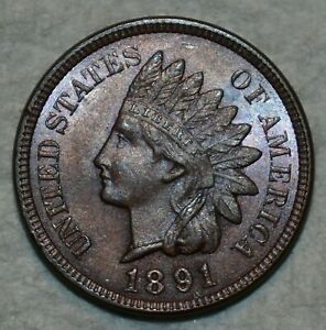 Uncirculated+ 1891 Indian Head Cent, Lustrous, lightly toned specimen