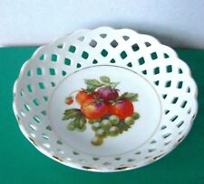 Schumann Bavaria Strawberry Bowl Hand Painted Fruit Bowl Basket Weave c.1920s