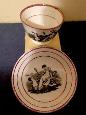 Antique Black Transferware Porcelain Cup And Saucer Set, Circa 1810