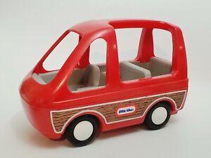 Little Tikes Dollhouse Car Van Red Panel Vehicle Woodgrain Minivan