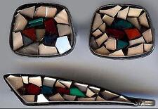 ISRAEL VINTAGE STERLING SILVER STAINED GLASS LOOK TIE BAR & CUFFLINKS SET