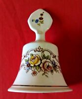 VINTAGE STAFFORDSHIRE PORCELAIN BELL FINE BONE CHINA FLORAL W/GOLD TRIM  (A3)