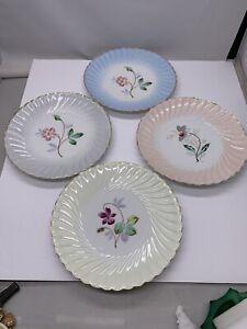 Vtg 4 Pastel Floral Dessert Plates B1