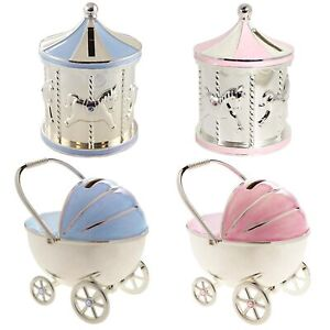 Carousel Money Box Silver Plated and Pink Enamel Christening Gift Choose Design