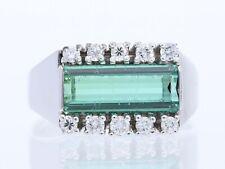vintage Ring 0,30 Karat Turmalin Brillanten 750 Weiss Gold 18 Karat
