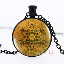 Metatron's Cube photo Glass Dome black Chain Pendant Necklace wholesale