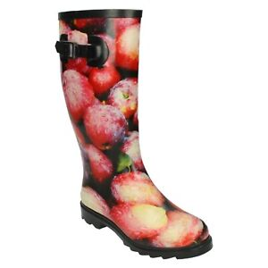 X1R214 SPOT ON LADIES WELLIES LONG PULL ON GARDEN FESTIVAL WELLINGTON BOOTS SIZE