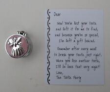 n TOOTH FAIRY TRINKET Treasure BOX charm pink metal hinged angel girl pink