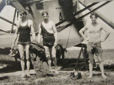 ANTIQUE1920s UNUSUAL PLANE HELICOPTER ? FLAPPER ERA BATHING SUIT YOUNG MEN PHOTO
