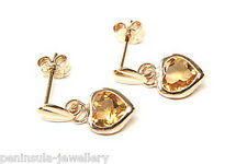 9ct Gold Citrine Heart Drop dangly Earrings Gift Boxed Made in UK