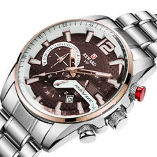 W230 Men Police Wrist Watches Sport Stainless Steel Strap Brown Chronograph Dial