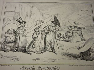 George CRUIKSHANK CARICATURE SATIRE JUVENILE MONSTROSITIES GEORGIAN FASHION 1835