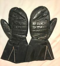 Vtg 70'S *Black Leather Zip Snowmobile Ski Mittens Gloves Womens-M