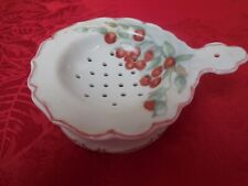 Vintage Porcelain tea strainer & dish bowl cherry design signed