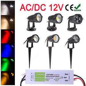 Outdoor IP65 6W 9W COB LED Landscape Garden Path Flood Spot Light + 12V Adapter