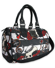 Liquor Brand Nautical Skull Roses Tattoo Punk Rock Round Handbag Purse B-RB-010