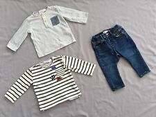 Preloved ZARA Kids BABY BOYS x2 TOP & DENIM JEANS SET SZ 6/9 MONTHS 9/12 MONTHS