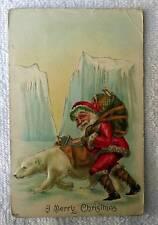 POSTCARD CHRISTMAS SERIES NO 555 POLAR BEAR NORTH POLE SANTA CLAUS #sa9