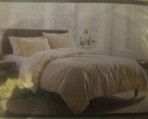 THRESHOLD LINEN BLEND DUVET COVER SET SHAM NATURAL KING BED BEDROOM TIE BUTTON