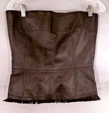 NWT ICEBERG GENUINE SOFT DARK BROWN LEATHER BUSTIER TOP SIZE 12 (ITALY 43)