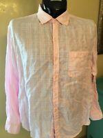 Roundtree & Yorke Caribbean Mens Shirt Linen Long Sleeve Pink Plaid L