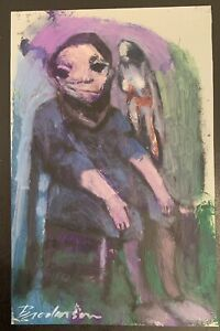 "Robert Broderson ""Boy With Bird"" Original Painting on Paper (C)1970, 10""x 11.5"""
