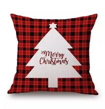 Merry Christmas Red Black Plaid Checked Cushion Cover