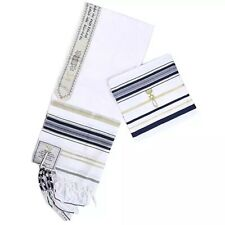 More details for traditional jewish kosher tallit talit 50/180cm from israel prayer acrylic shawl