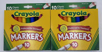 Crayola Broad Line Markers Assorted Classic Colors Box Of 10, New, Lot of 2