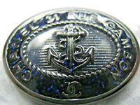 CHANEL DARK BLUE SILVER  CC LOGO FRONT AUTH METAL  BUTTON TAG 16 x 11 MM emblem