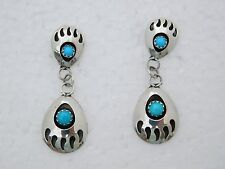 Style Turquoise Silver Earrings Post Native American Zuni Bear Claw
